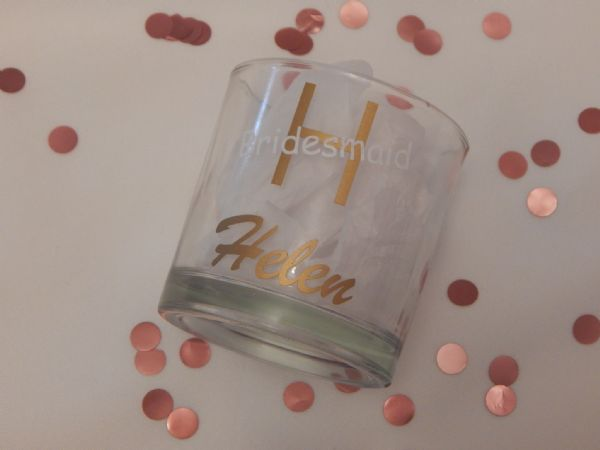 Personalised Wedding Tumbler Glass With Initial, Name & Role